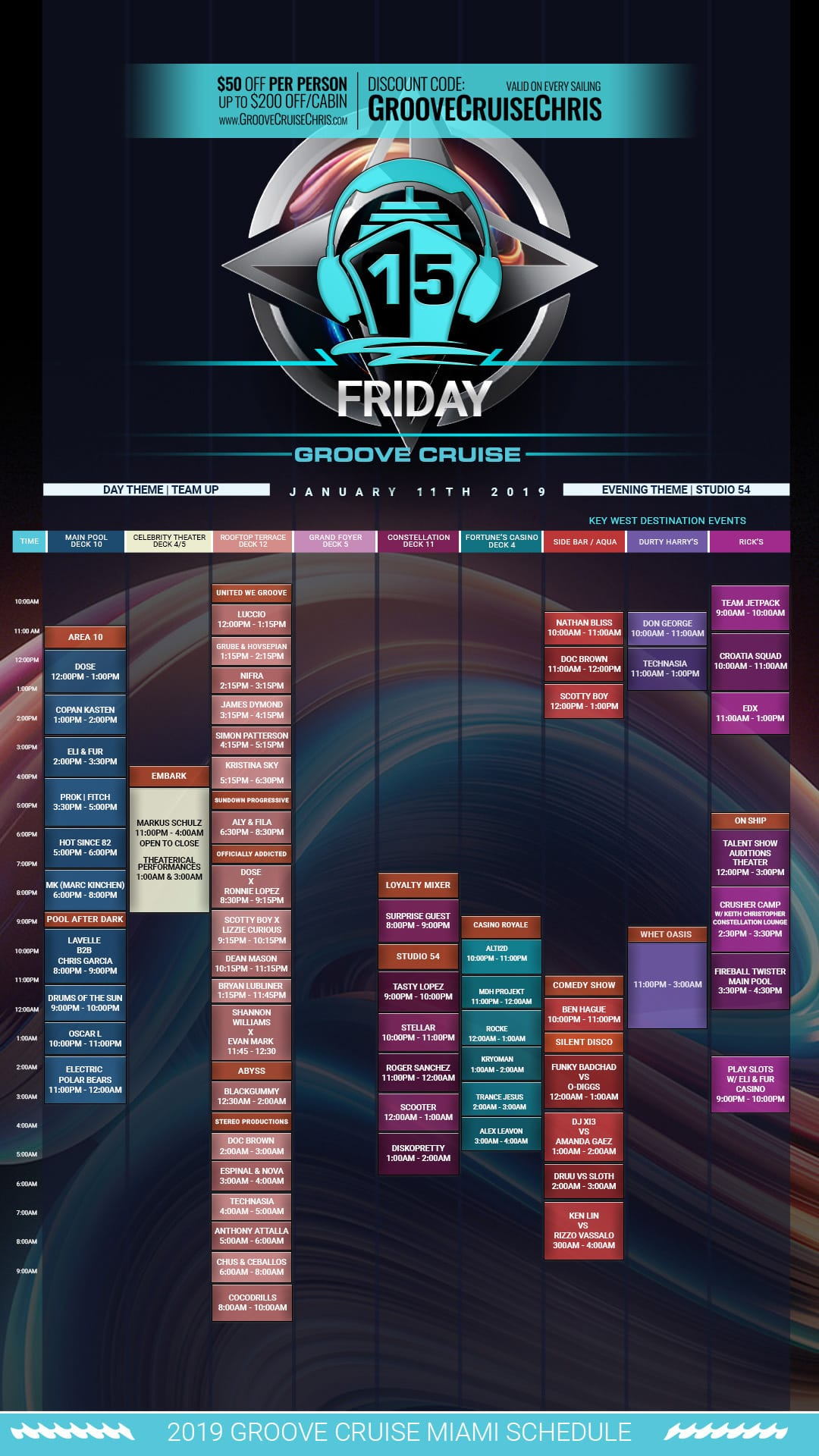 Groove Cruise Miami 2019 set times Friday