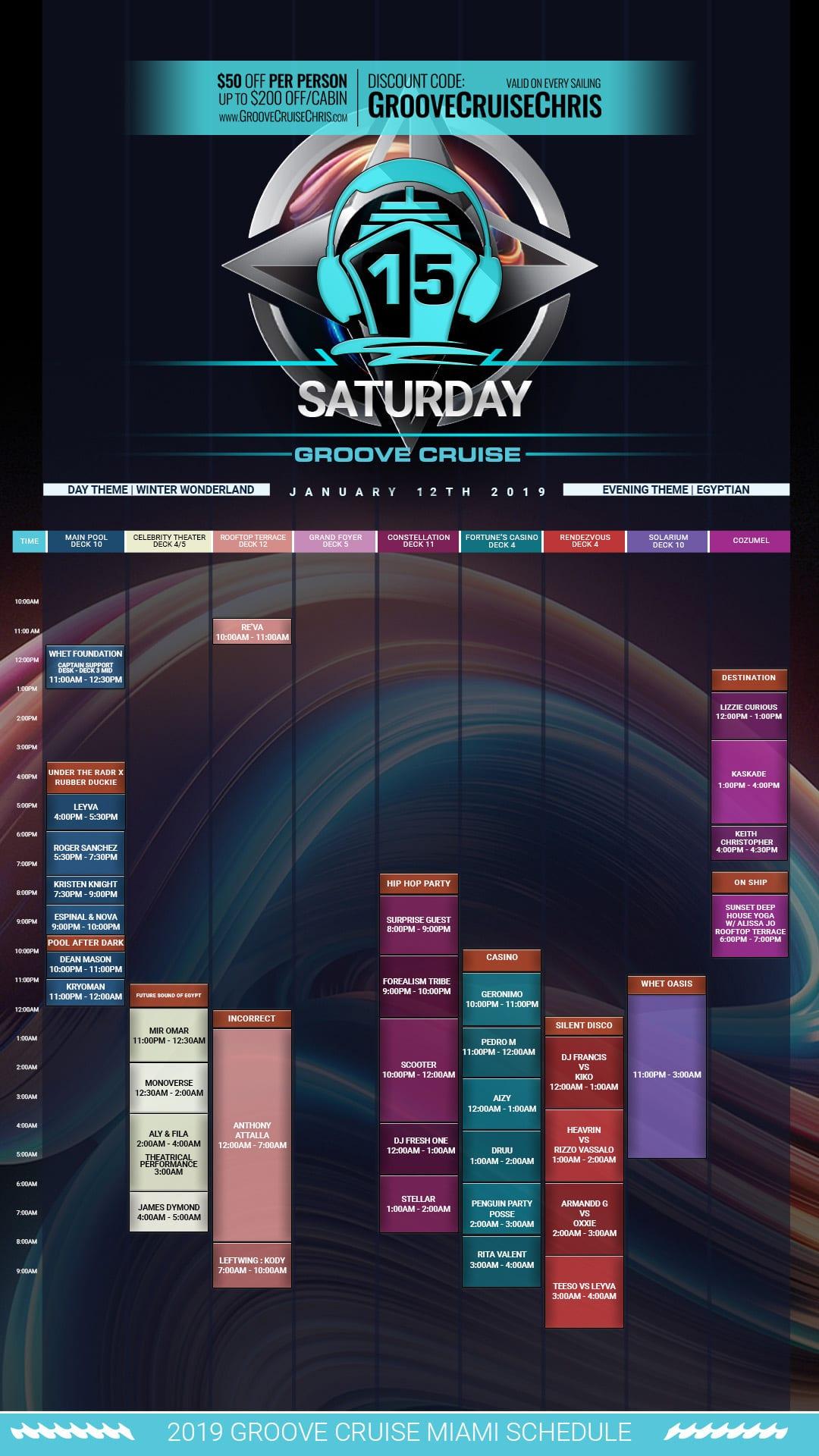 Groove Cruise Miami 2019 set times Saturday