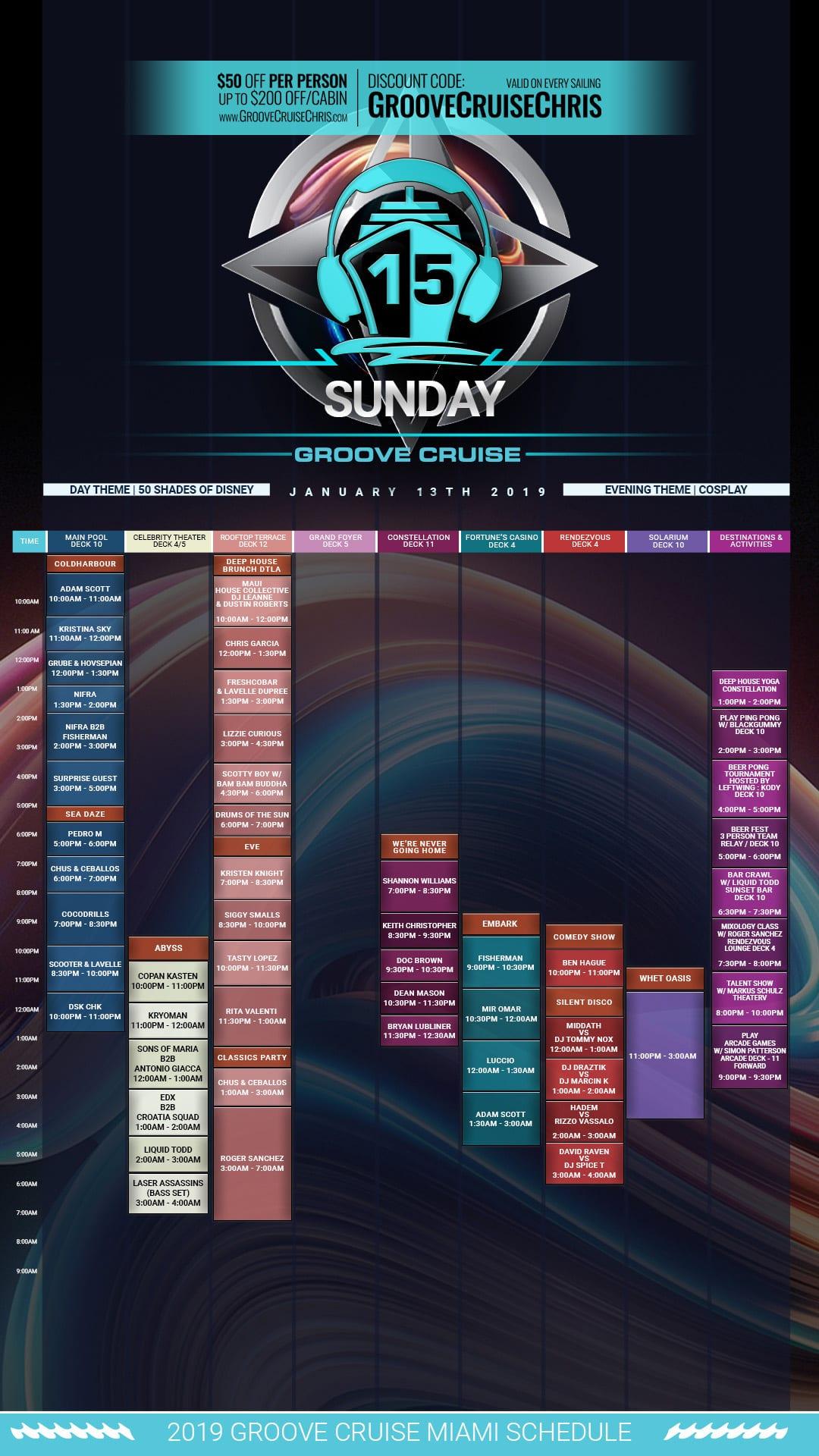 Groove Cruise Miami 2019 set times Sunday