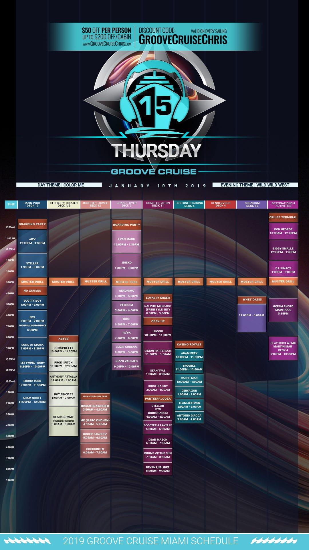 Groove Cruise Miami 2019 set times Thursday